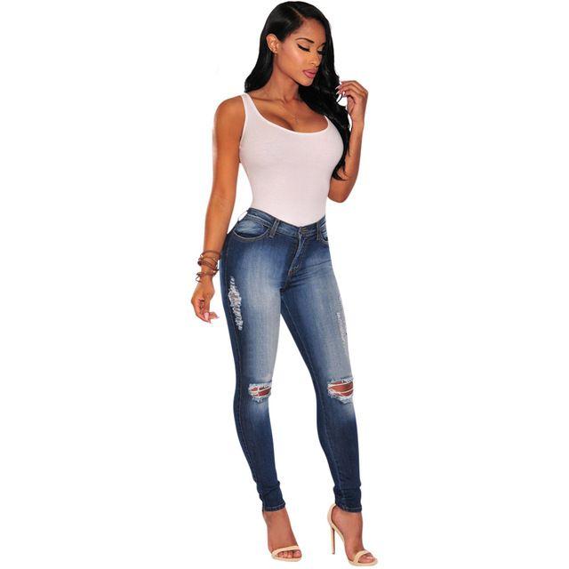 eb47e68034d Cut out ripped knees bleach denim skinny jeans wash sculpt butt lift pencil  pants vintage slim women fashion jeans plus size