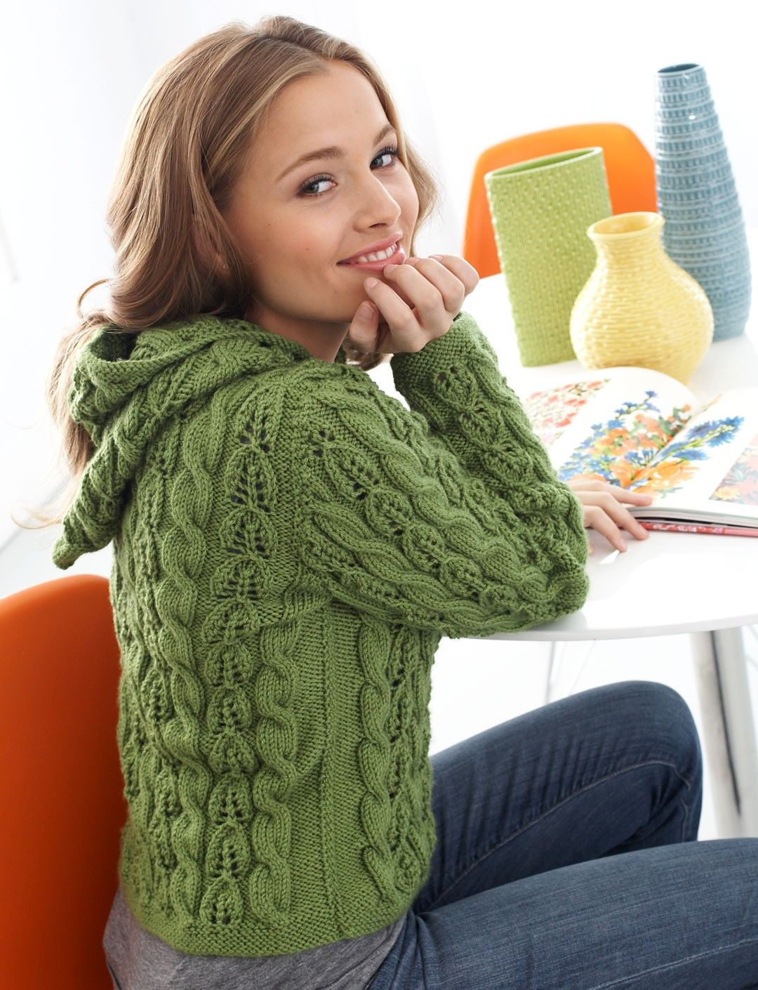 Yarnspirations.com - Patons Cables and Lace Hoodie - Patterns ...