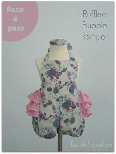cosotela: Paso a paso: Ruffled Bubble Romper   Baby Rompers   Pinterest