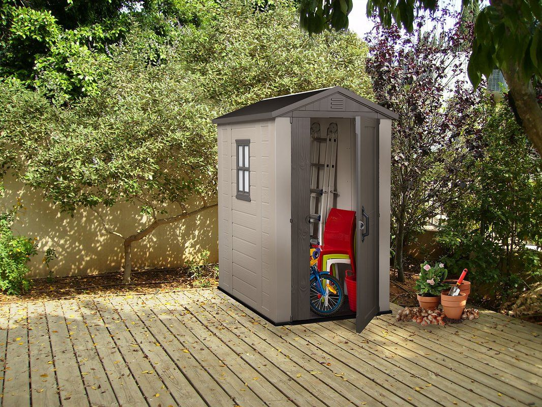 Factor 6 Ft 1 In W X 4 Ft 3 In D Plastic Tool Shed In 2021 Garden Storage Shed Outdoor Storage Sheds Outdoor Garden Storage