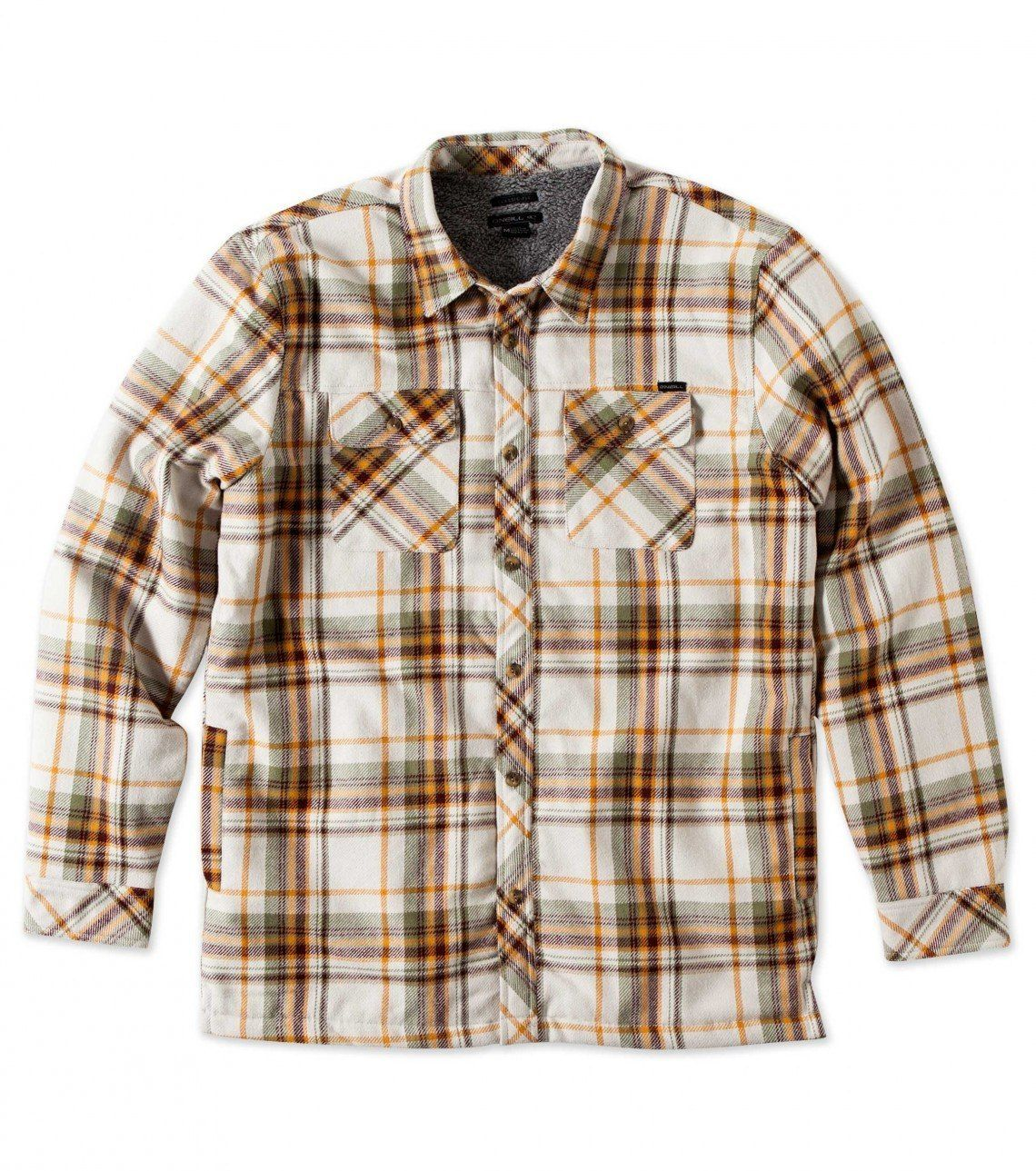 Khaki o 39 neill shelter flannel shirt jacket sherpa for Sherpa lined plaid shirt