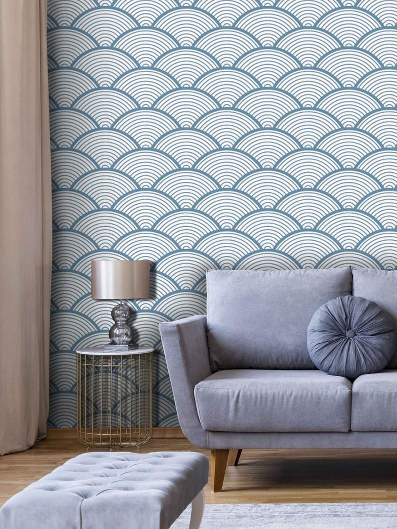 Removable Wallpaper Blue Abstract Wallcovering Pre Pasted Etsy Removable Wallpaper Wall Coverings Cleaning Walls