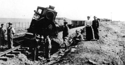With their defeat on the battlefields, many of the Boer commandos dispersed, the members returning to their farms and accepting they had lost. Some though refused to admit defeat, and took to the hills, so to speak, to wage a guerrilla war against the British invaders. One early casualty of the second phase of this Second Boer War was this train, derailed in late 1900. (McGregor Museum)