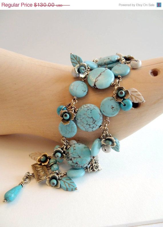ON SALE Bohemian Bracelet Turquoise Howlite by lululovestocreate