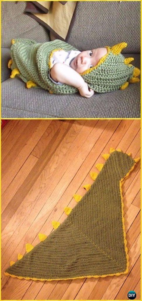 Crochet Dino Baby Hooded Blanket Free Pattern – Crochet Hooded Blanket Free Patterns #crochetdinosaurpatterns
