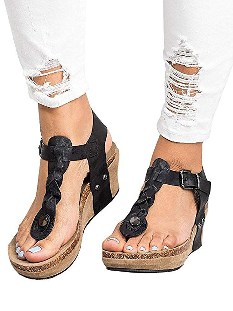 429103e73 Women Sandals Wedges Boho Braided Casual Summer T-Strap Mid Heel Wedge Sandal  Shoes    Hope that you actually do like our picture.