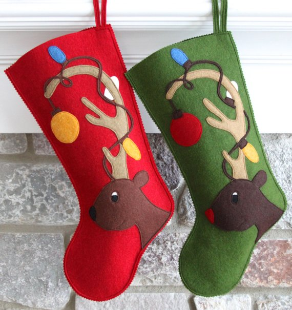 Handmade Wool Felt Personalized Christmas Stocking Celebrate with