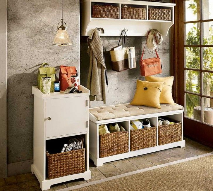 Simple Entryway With Storage Shelves Design Rattan Baskets And Small Entryway Bench Coat Rack Ideas Organizing Your Home Entryway Furniture Home Organization