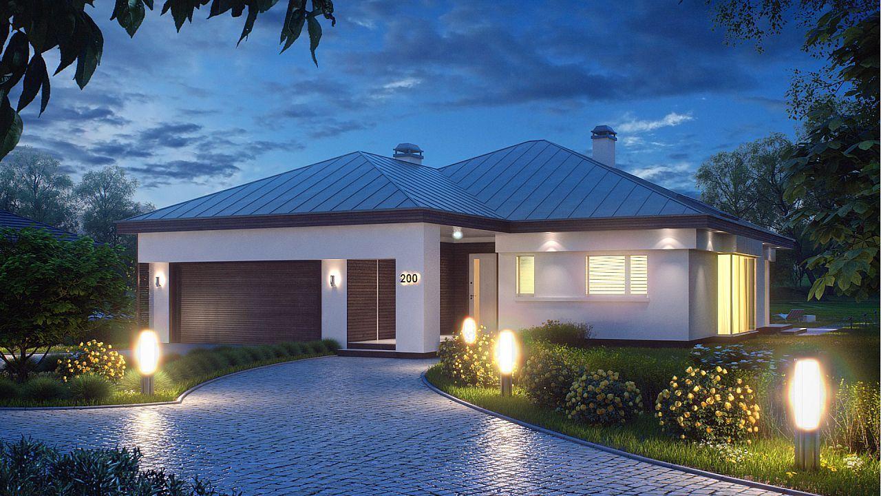 Moderna casa de 1 planta con techo a cuatro aguas y 166 m2 for Casa moderna de 50 m2