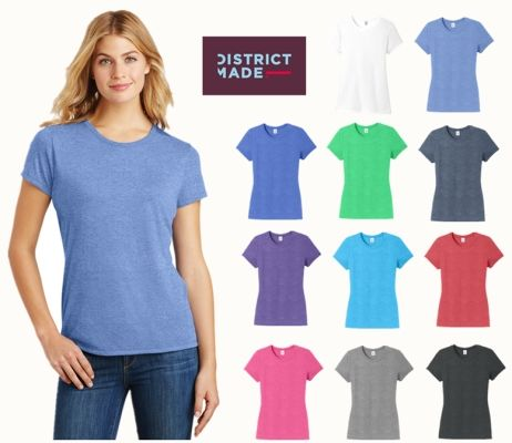 District Made DM130L Ladies Perfect Tri Crew Tee from NYFifth