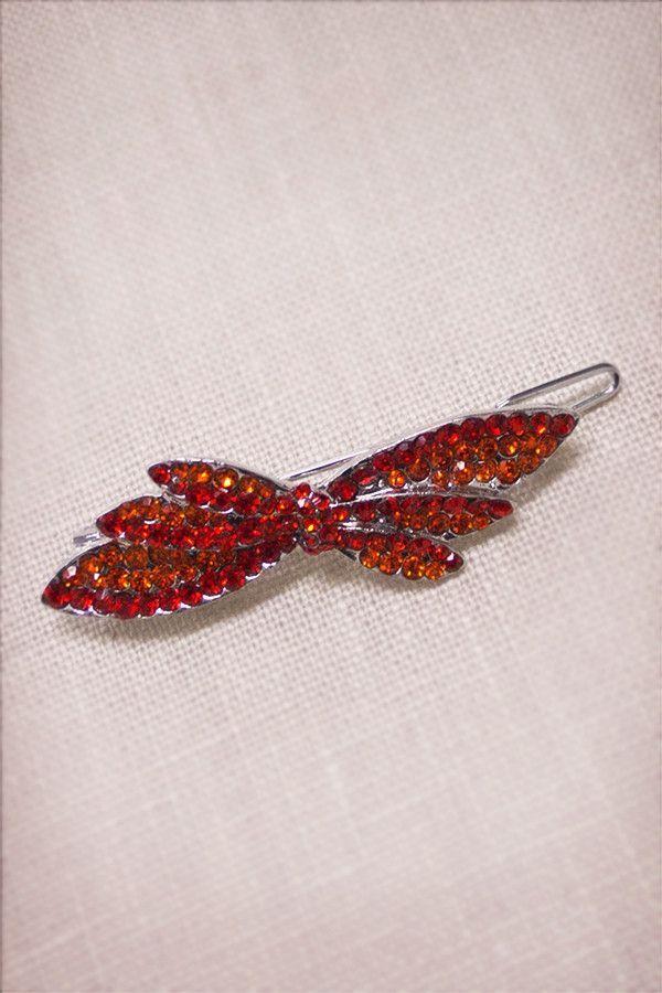 Crystal Dragonfly Bow Barrette