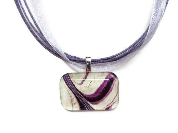 Purple Ribbon Watercolor painting pendant  by watercolorsNmore