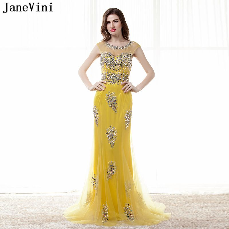 JaneVini Sexy Yellow Long Bridesmaid Dresses Sweep Train 2018 Scoop Neck  Backless Luxury Beaded Crystal Tulle Mermaid Prom Gowns 238a3c4d12e5