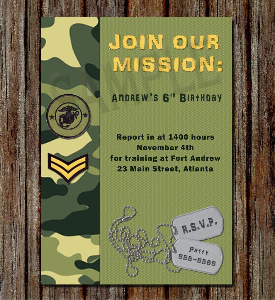 free printable camouflage birthday party invitations%0A army birthday  Buscar con Google