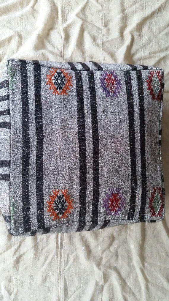 Kilim Pouf 40×40İnches Decorative Pouf Oversize Pillow King Beauteous Turkish Kilim Pouf