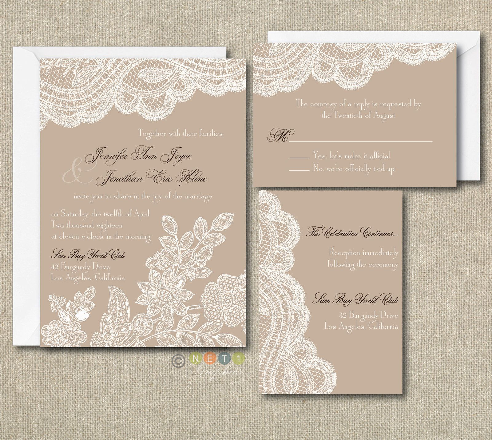 100 Personalized Custom rustic vintage lace Wedding Invitations Set ...