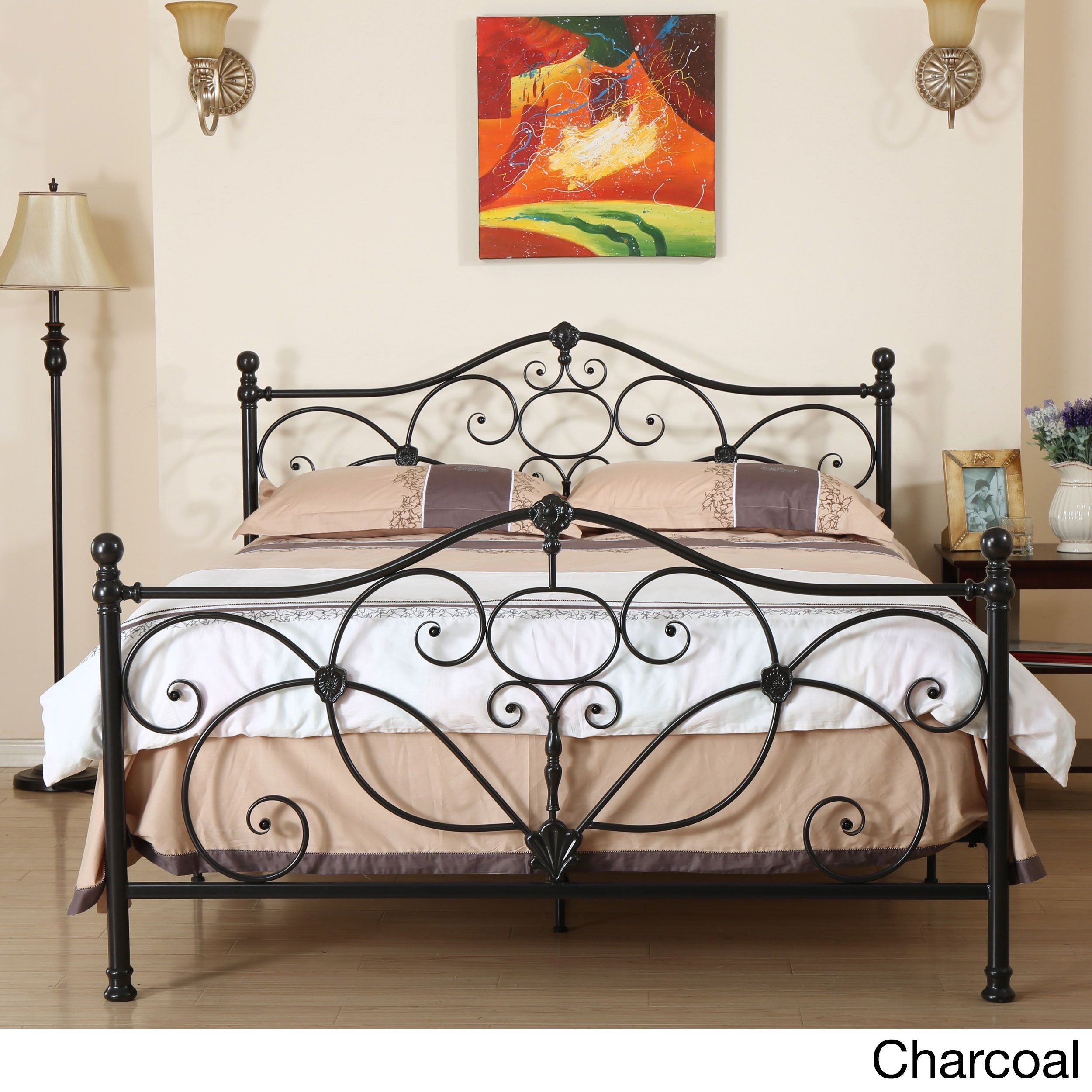 Marcus Queen Metal Bed by Christopher Knight Home (Champagne), Brown ...