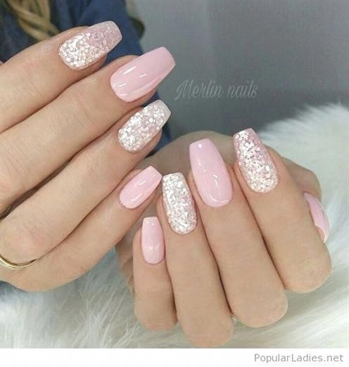 Light Pink Gel Nails With Silver Glitter Gelnailsideas Acrylicnaildesigns With Images Pink Gel Nails Pink Nails Nail Art Wedding