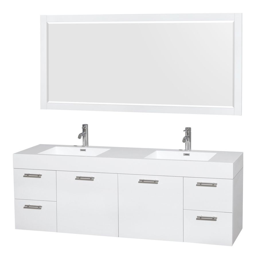 Wyndham Collection Amare 72 Inch Double Bathroom Vanity In Glossy White Acrylic Resin Countertop Integrated Sinks And 70 Mirror