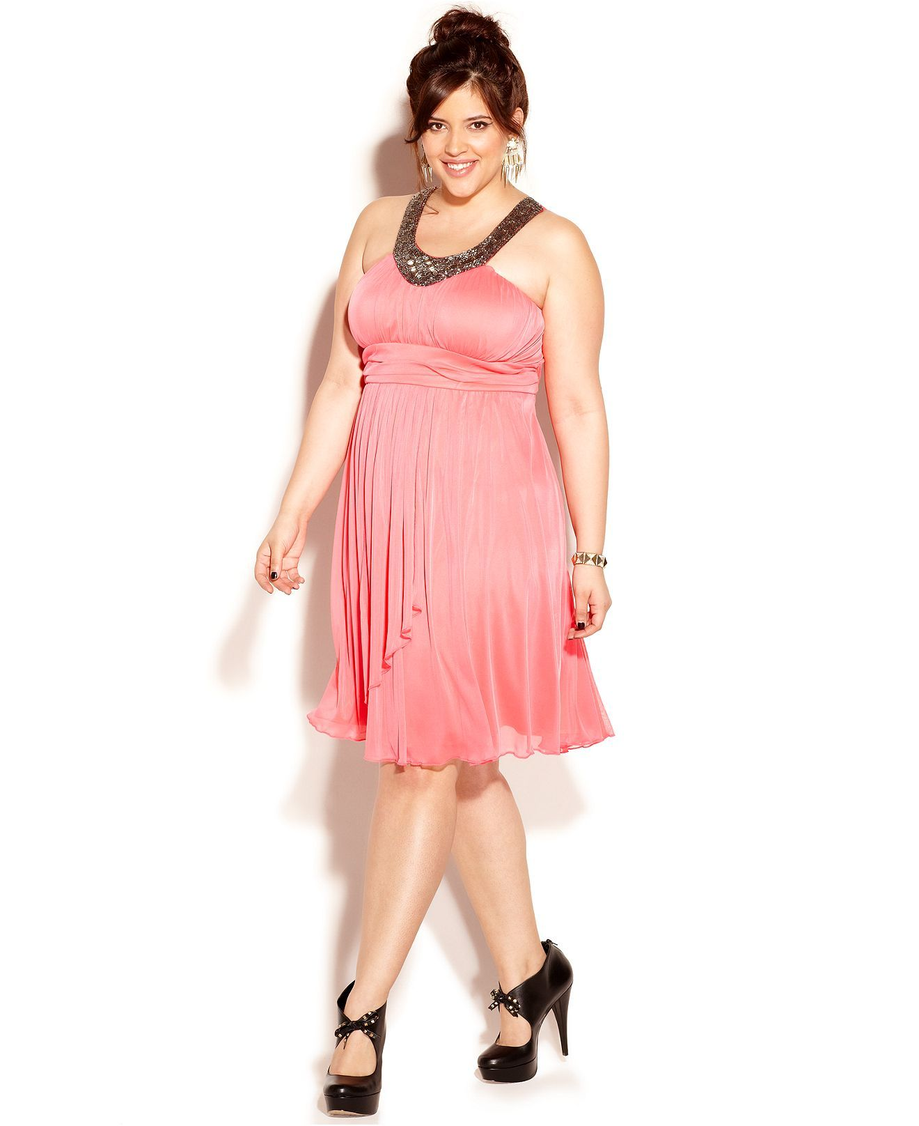 Trixxi Plus Size Dress, Sleeveless Beaded Empire - Junior Plus ...