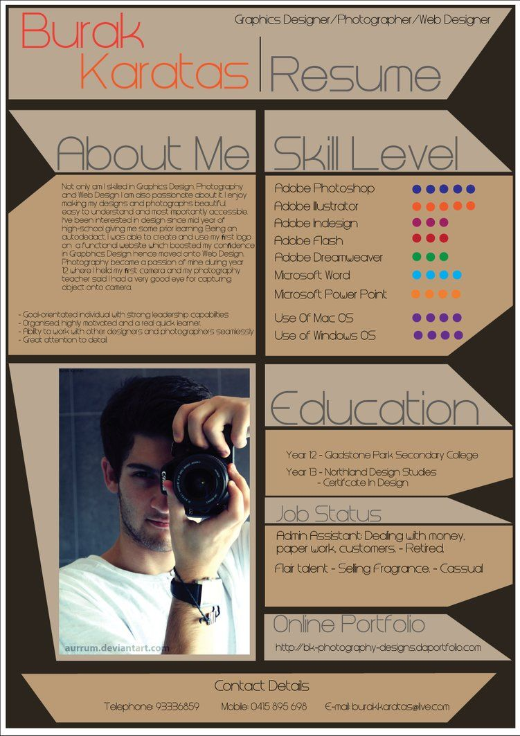 My Resume Design By Aurrum Photography Graphics