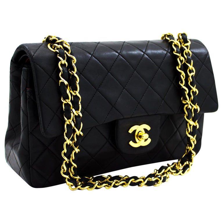 Chanel 2 55 Double Flap 10 Classic Chain Shoulder Bag Black In 2020 Chain Shoulder Bag Shoulder Bag Designer Shoulder Bags