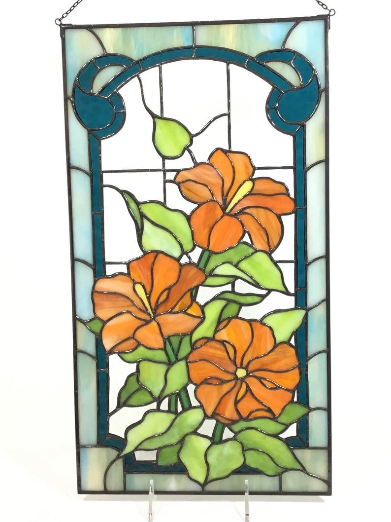 Gerbera in orange ...Stained glass wall hanging or window suncatcher  or beautiful garden ornemenr in beautiful two tone opaque orange