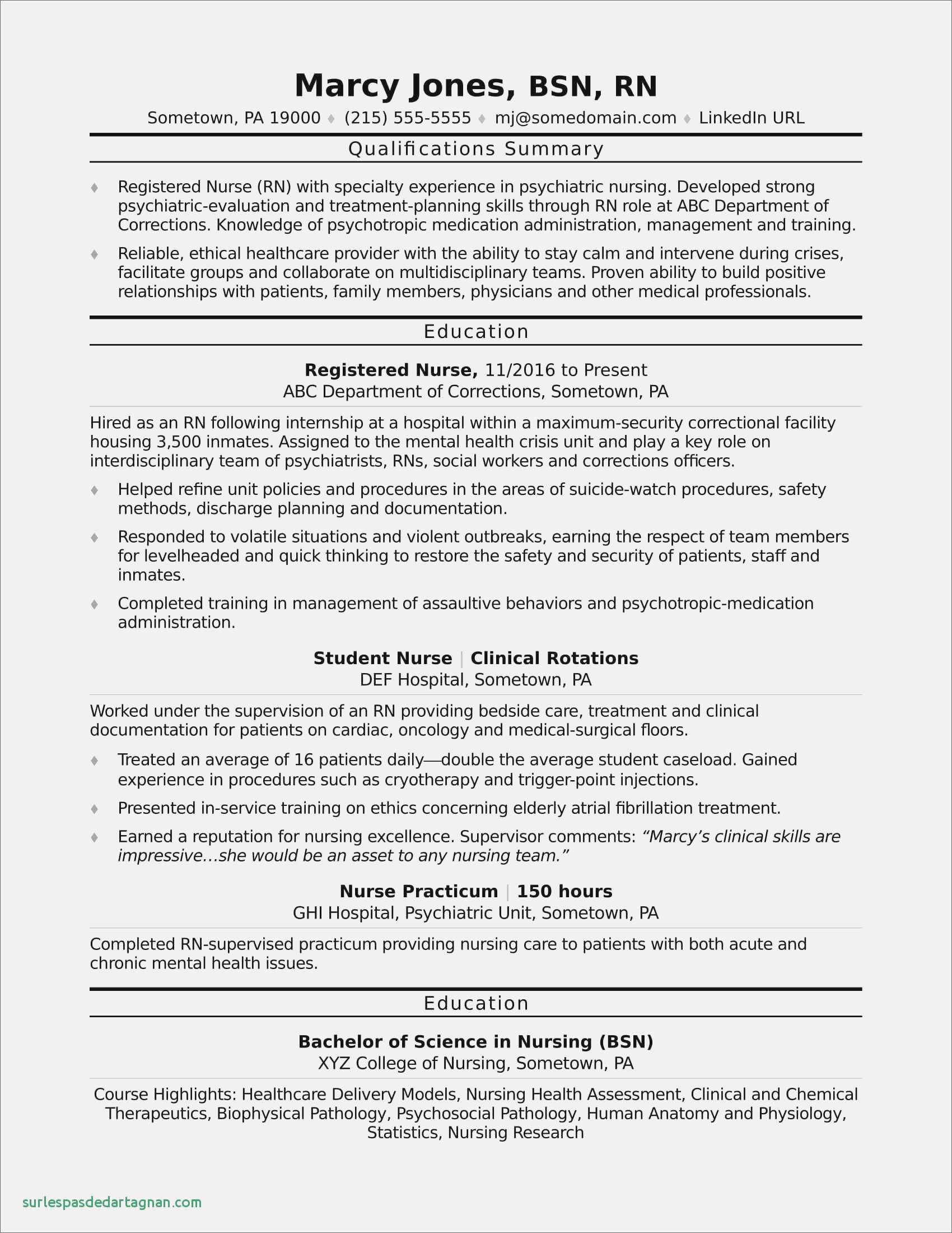 68 Best Of Collection Of Psych Rn Resume Examples