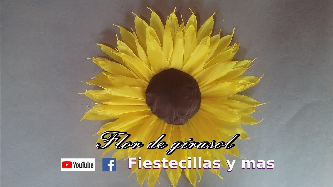 Flor de girasol en papel crepe | Flor girasol, Girasoles de papel,  Manualidades flores de papel