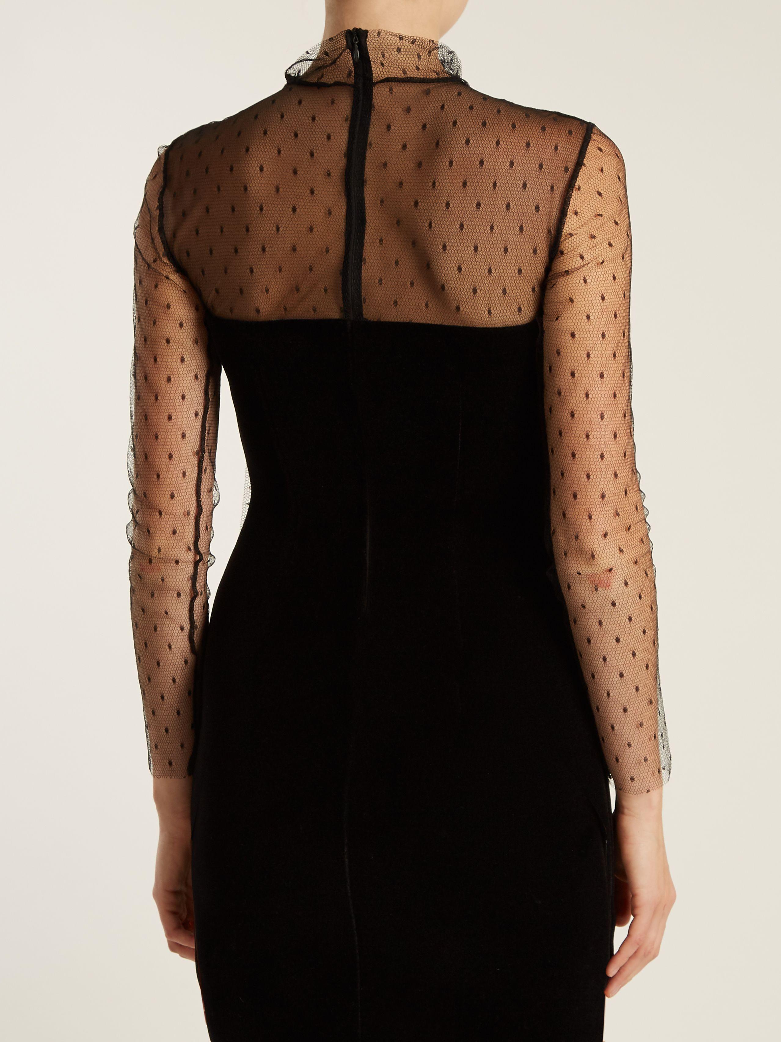 Velvet and mesh mini dress redvalentino matchesfashioncom