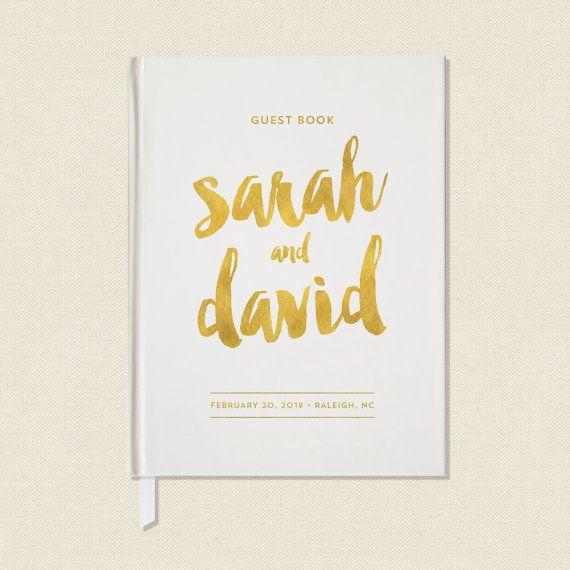 Wedding Guest Book Gold Wedding Guestbook Unique by CraftyPiePress