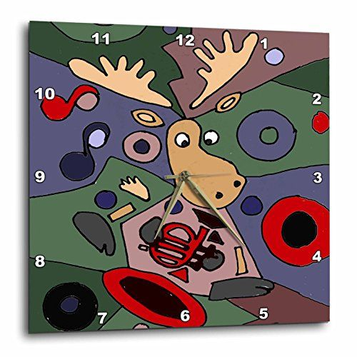 All Smiles Art Abstract - Funny Moose Playing Trumpet Abstract Art - 13x13 Wall Clock (dpp_224786_2) 3dRose http://www.amazon.com/dp/B0184NQ9G8/ref=cm_sw_r_pi_dp_2nc4wb1VWRC1P