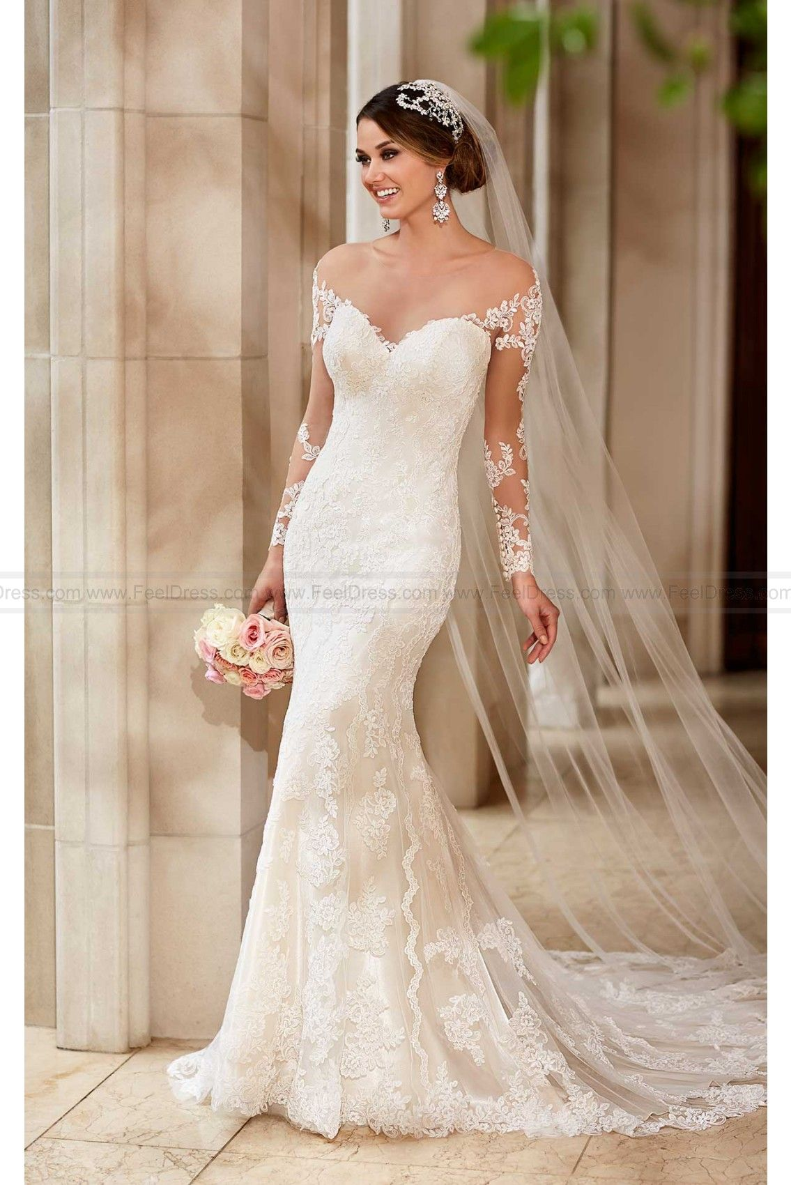 Stella york wedding dress with illusion lace sleeves wedding