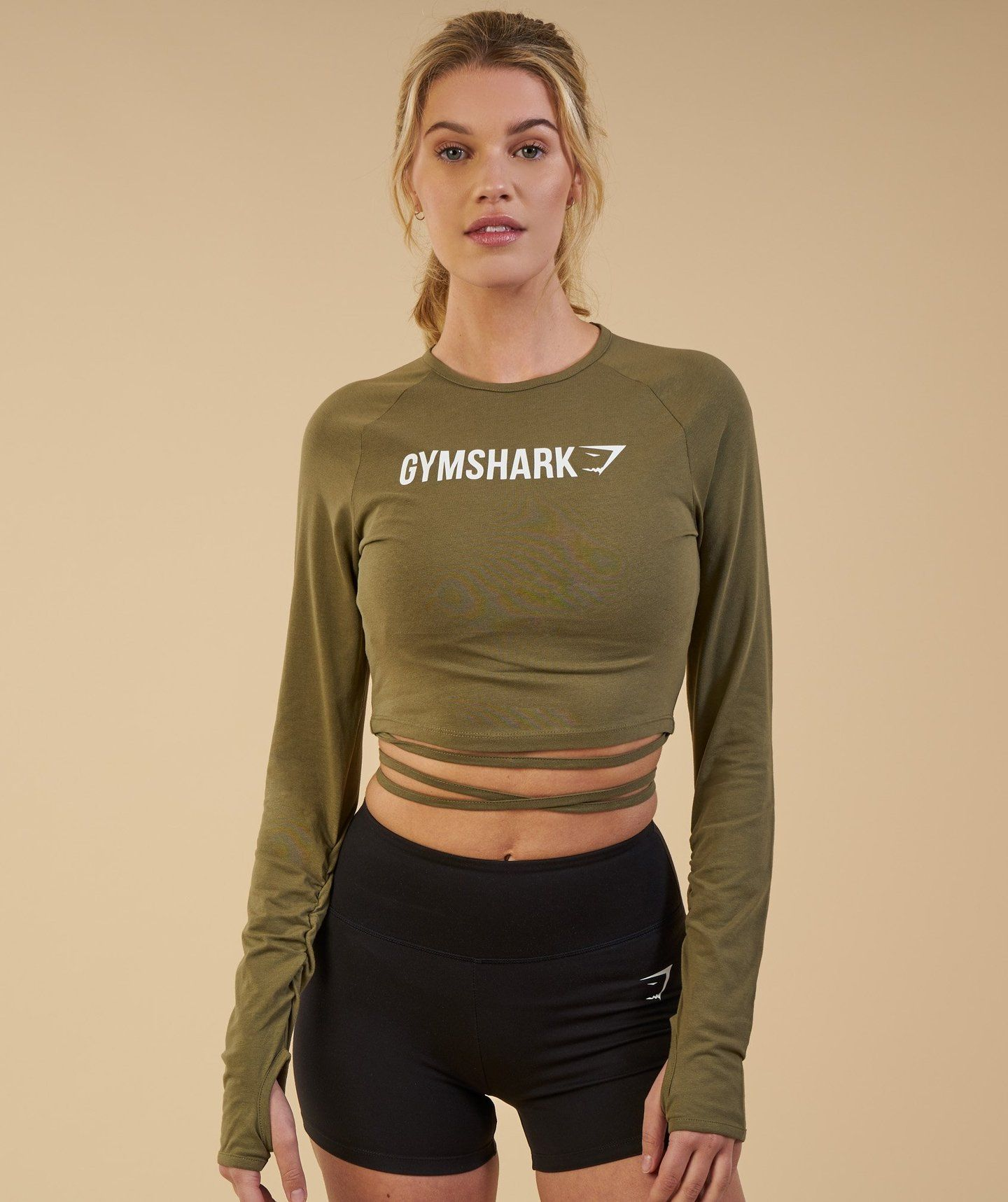 afc8cbdd90b Gymshark Long Sleeve Ribbon Crop Top - Khaki 1