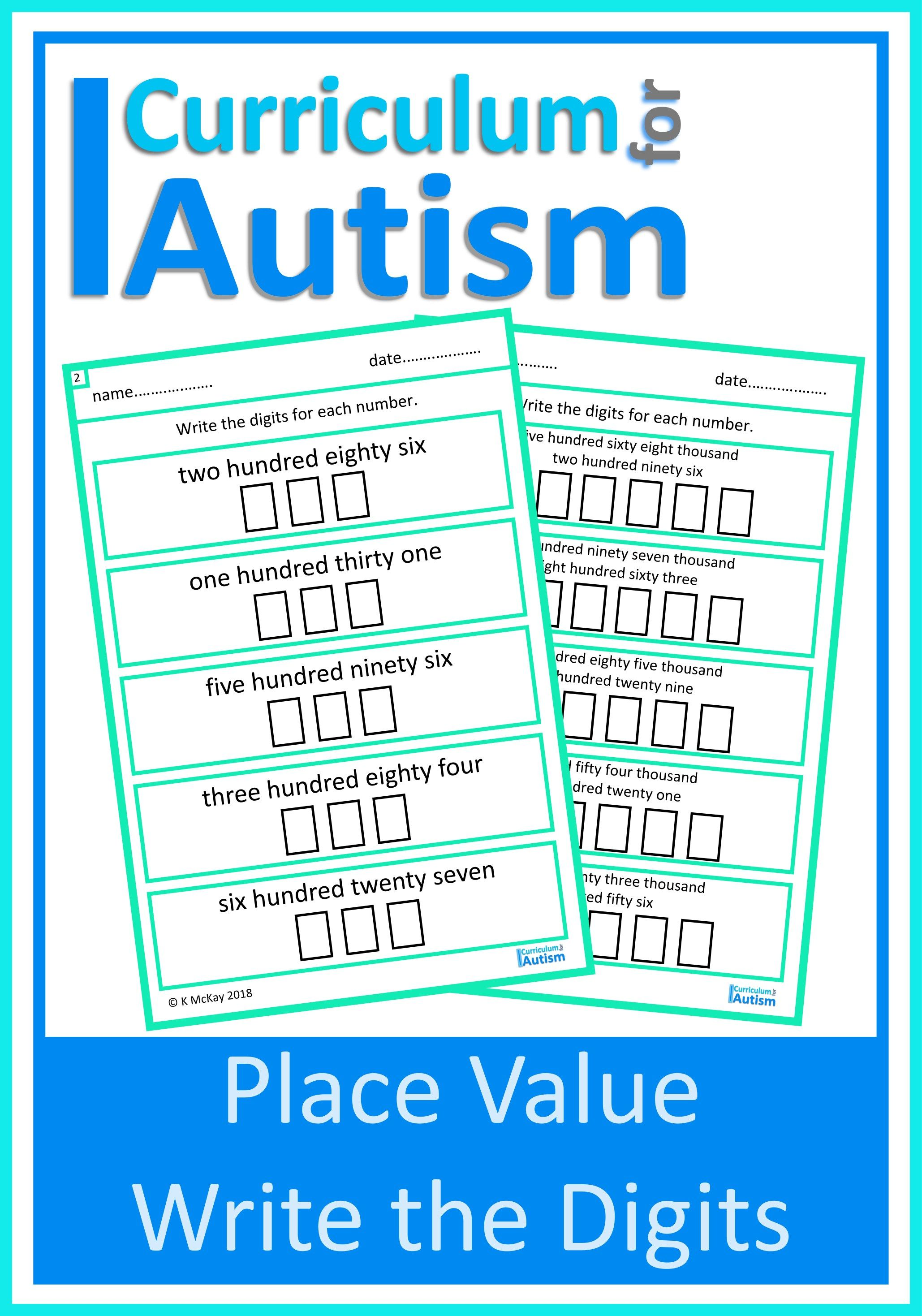 Place Value Write Digits Worksheets