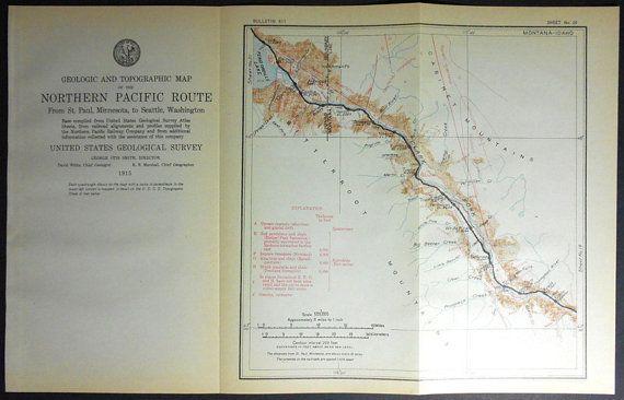 1915 Railroad Map: Ozoma Idaho ID and Smeads, Noxon, Belknap, Woodlin, Eddy, Montana MT. Northern Pacific Rail Antique. Map Vintage