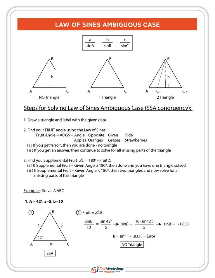 Law of Sines - Ambiguous Case (FRUIT METHOD) | Math Analysis | Law ...