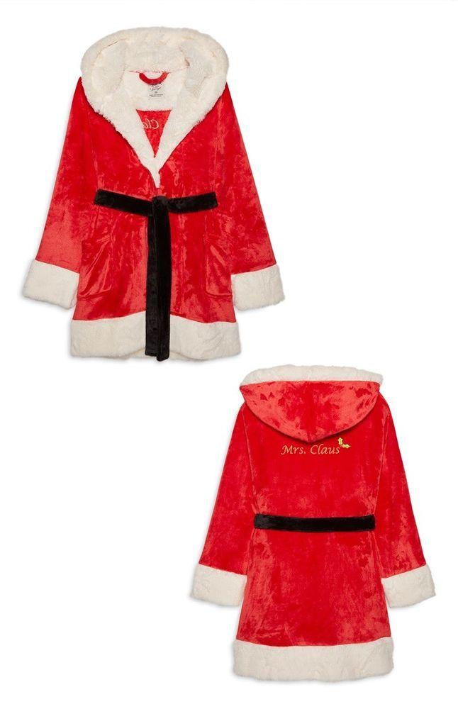 Primark Ladies Mrs Claus Bathrobe Womens Dressing Gown Fleece Hooded