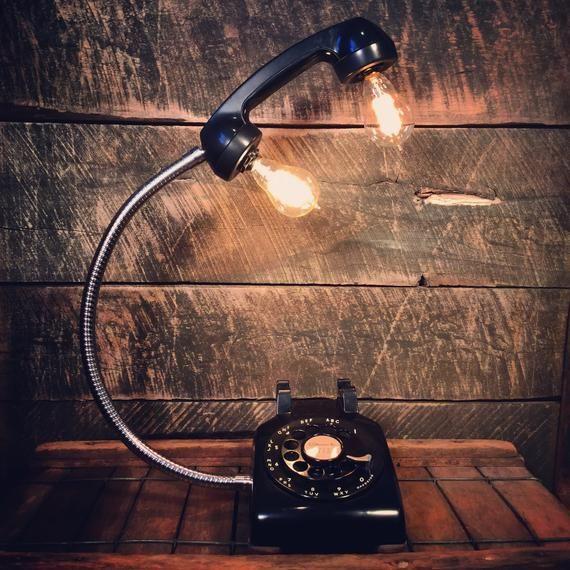 Vintage Black Rotary Phone Lamp - Gooseneck Desk L
