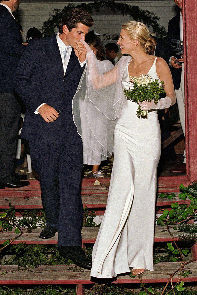Meghan Markle S Second Wedding Dress Was Definitely Inspired By Carolyn Bessette Kennedy Celebrity Wedding Gowns Famous Wedding Dresses Carolyn Bessette Wedding Dress