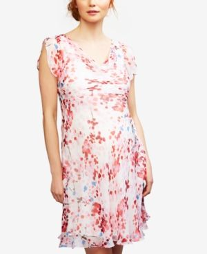 16d960b42c994 Seraphine Maternity Silk A-Line Dress - Red-White Floral   Products ...