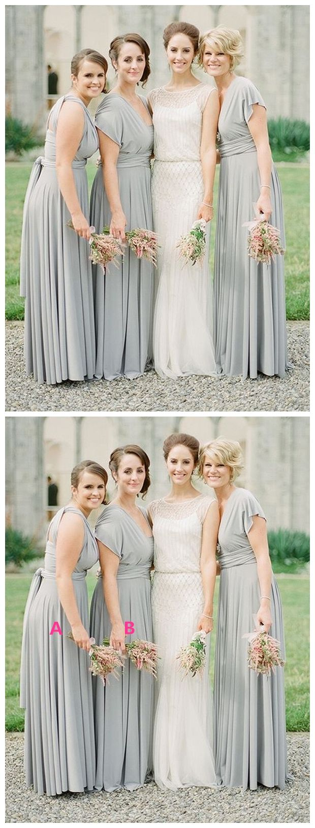 Simple v neck long chiffon grey mismatched bridesmaid dresses with