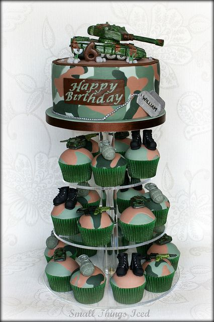Brilliant Army Cupcake Tower With Images Army Birthday Cakes Military Funny Birthday Cards Online Benoljebrpdamsfinfo