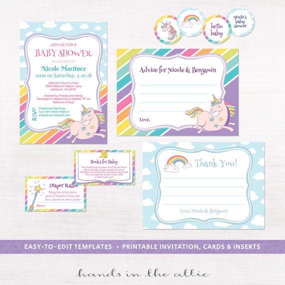 Printable party kit unicorn invitation baby shower advice ...