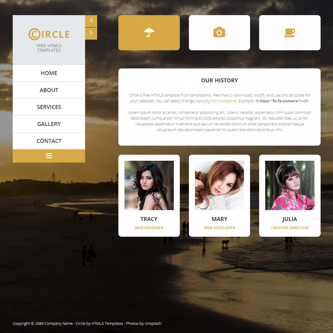 Circle Is Free HTML5 Portfolio Template Using Fading Background Images And Yellow Color Gallery Includes Responsive Lightbox