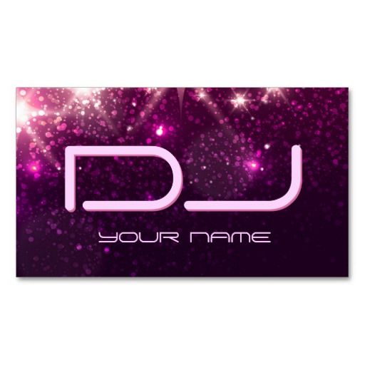 Music dj shiny pink glitter business card