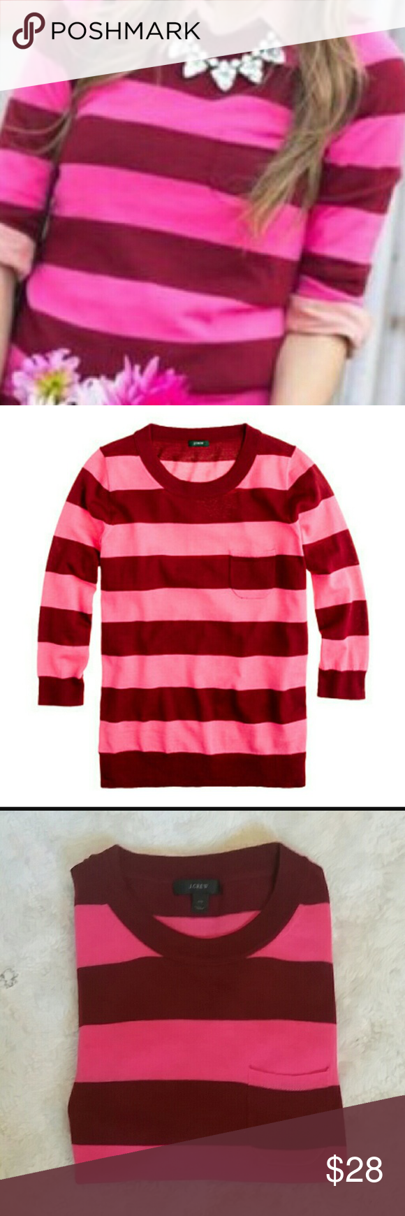 J.Crew Merino tippi sweater | D, Pink and Stripes