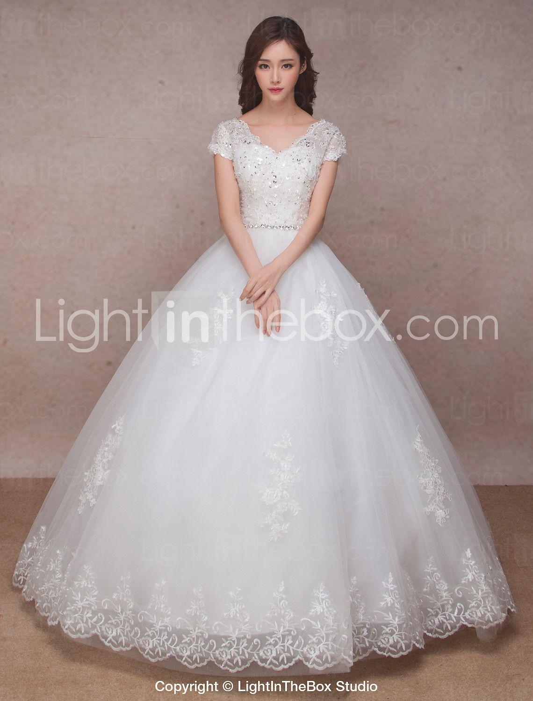 Princess vneck floor length lace organza wedding dress with beading