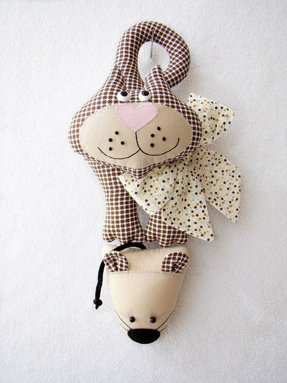 The cat and mouse, door decoration, toy at the door, soft toys for children, Interior cat toy, textile toy cat