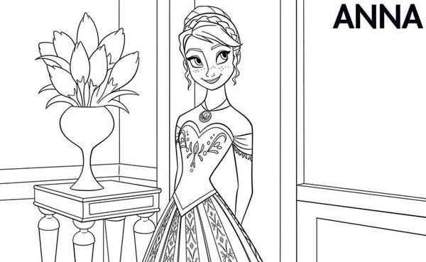 Superb Anna In Beautiful Dress Coloring Page Coloring Page Frozen Coloring Pages